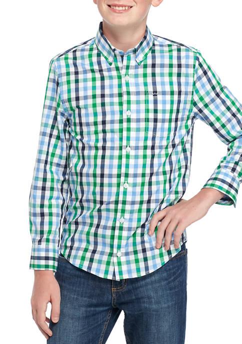 Boys 8-20 Long Sleeve Poplin Woven Shirt