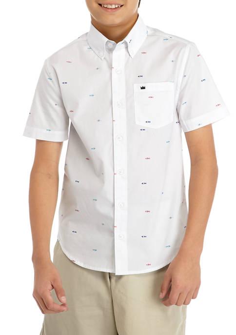 Crown & Ivy™ Boys 8-20 Short Sleeve Poplin