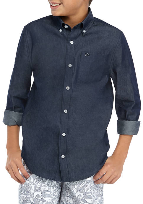 Crown & Ivy™ Boys 8-20 Family Chambray Shirt