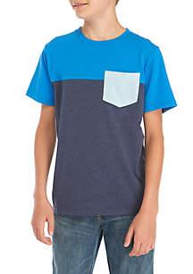 Boys 8-20 Short Sleeve Colorblock Pocket Tee