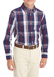 Boys 8-20 Long Sleeve Plaid Woven Shirt