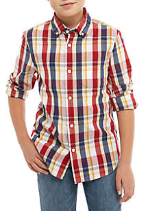Boys 8-20 Long Sleeve Plaid Woven Shirt
