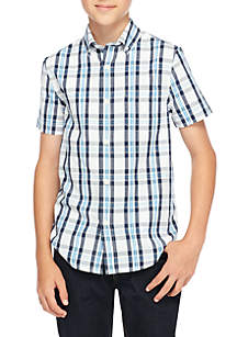 Boys 8-20 Short Sleeve Plaid Woven Shirt