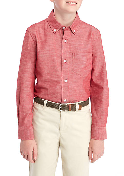 TRUE CRAFT Boys 8-20 Long Sleeve Woven Oxford
