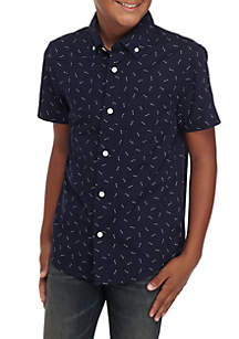 TRUE CRAFT Boys 8-20 Short Sleeve Printed Woven Top