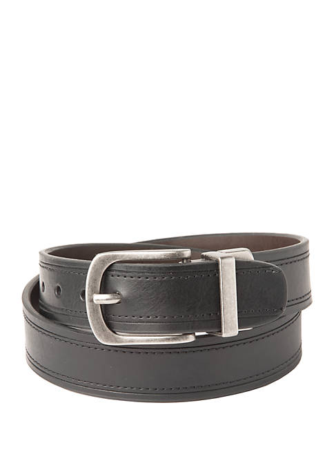 Crown & Ivy™ Boys 4-7 Black Stitching Belt