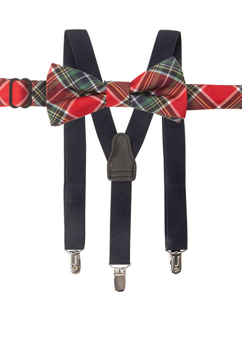 Boys 8-20 Family Moments Plaid Suspender Set