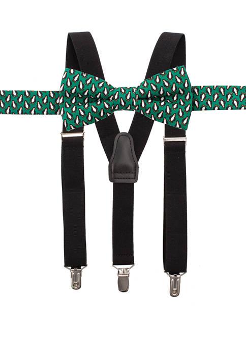 Crown & Ivy™ Boys 8-20 Penguin Suspender Set