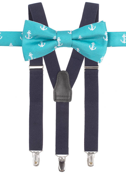 Crown & Ivy™ Boys 8-20 Anchors Suspender Set