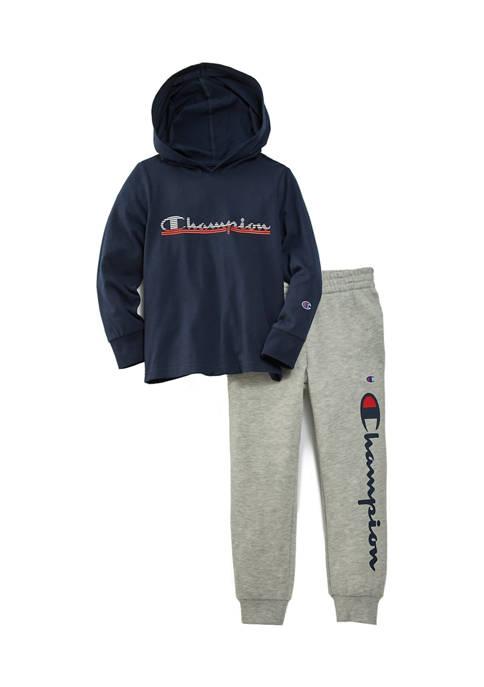 Champion® Boys 4-7 Panel Stripe Hoodie Set