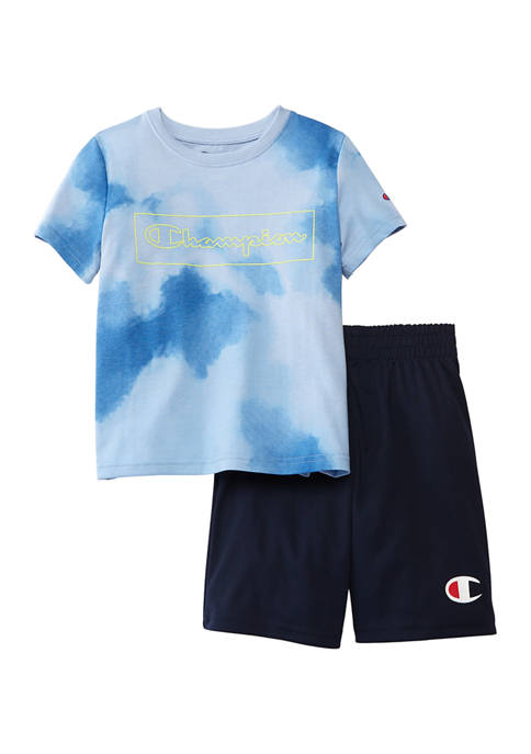 Champion® Boys 4-7 2 Piece Cloud Print T-Shirt