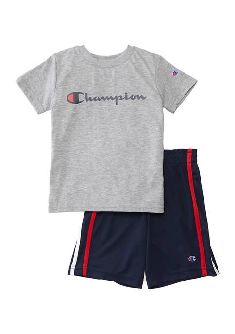 Boys 4-7 Short Sleeve Script T-Shirt and Shorts Set