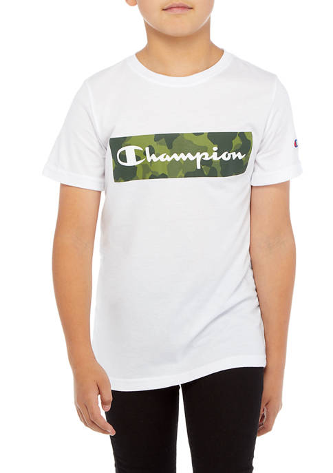 Champion® Boys 8-20 Camo Backdrop Script Short Sleeve