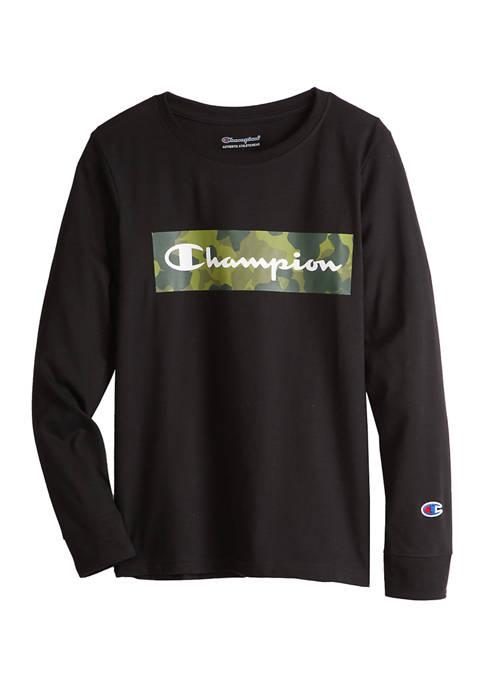 Boys 8-20 Camo Back Drop Script Long Sleeve T-Shirt