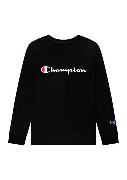 Champion® Boys 4-7 Script Long Sleeve T-Shirt