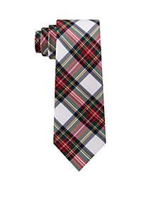 White Ground Tartan Plaid Tie