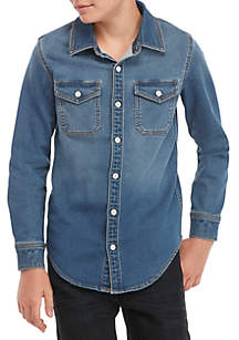 Boys 8-20 Long Sleeve Woven Denim Shirt