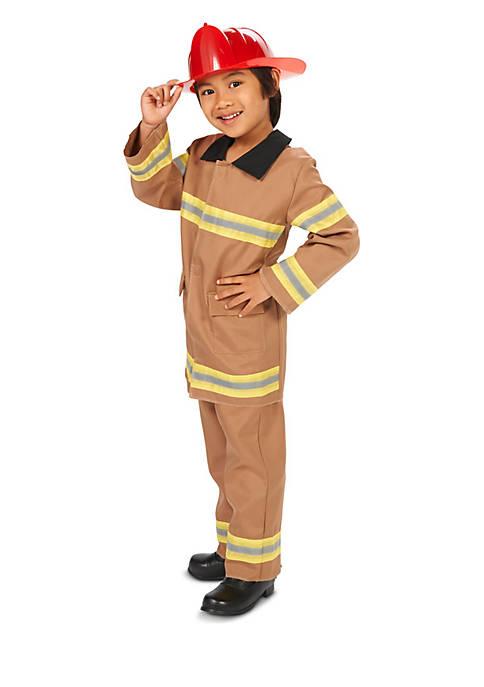 Boys 8-20 Tan Firefighter with Helmet Costume
