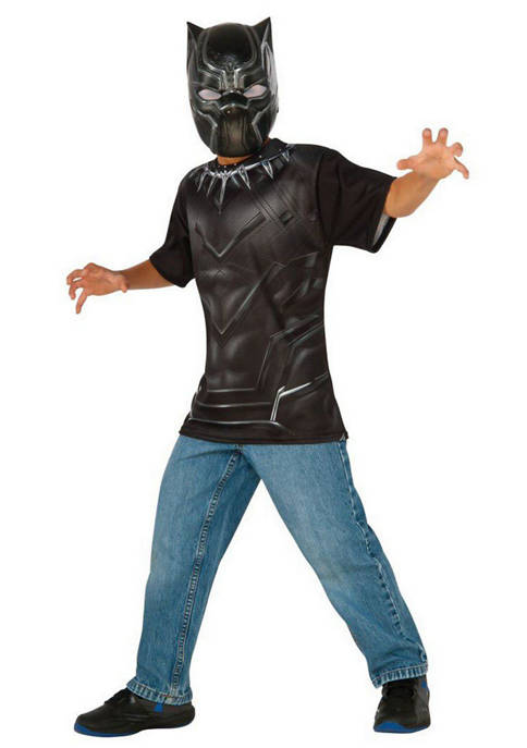 Rubie's Boys 8-20 Black Panther Costume Top and