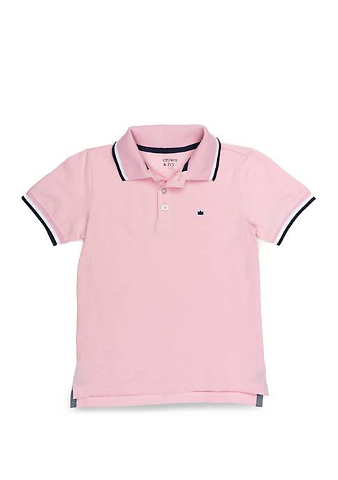 Boys 4-8 Polo With Flat Knit Collar