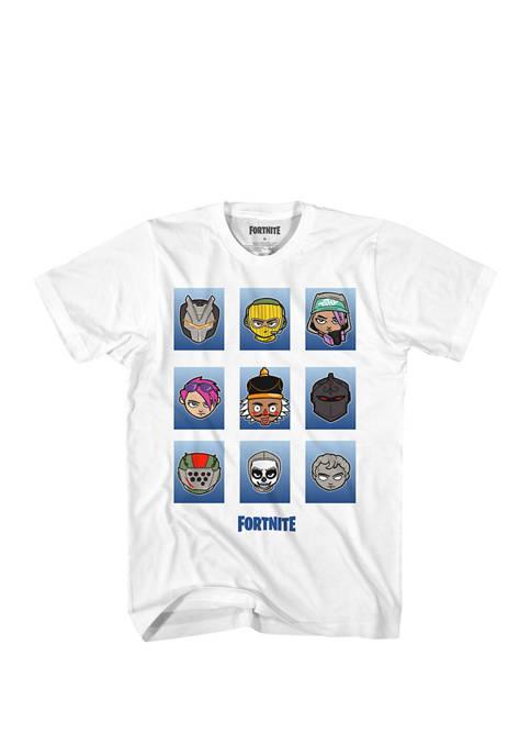 Fortnite Boys 8-20 Grid Head Boxes Graphic T-Shirt