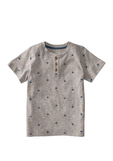 Boys 4-7 Short Sleeve Printed Henley Shirt