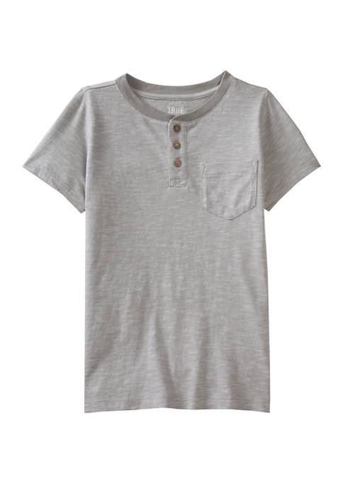 Boys 4-7 Short Sleeve Texture Henley Shirt