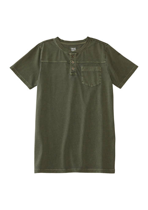 TRUE CRAFT Boys 8-20 Short Sleeve Henley T-Shirt