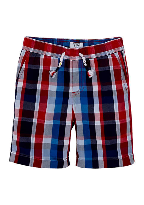 Crown & Ivy™ Boys 4-7 Plaid Woven Shorts