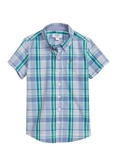 Crown & Ivy™ Boys 4-7 Short Sleeve Poplin