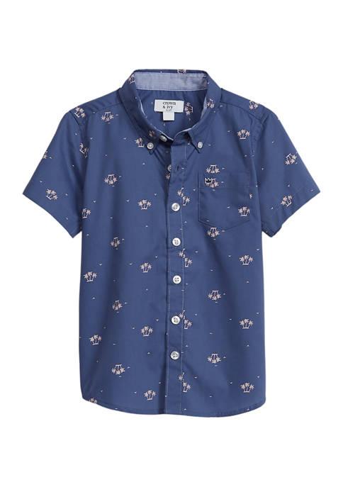 Boys 8-20 Short Sleeve Button Front Poplin Shirt