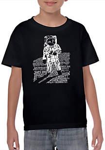 LA Pop Art Boys 8-20 Word Art T Shirt - Astronaut