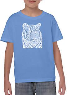 LA Pop Art Boys 8-20 Word Art T Shirt - Big Cats