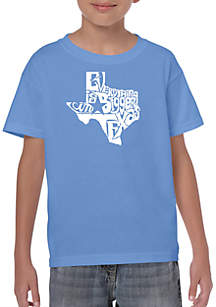LA Pop Art Boys 8-20 Word Art T Shirt - Everything is Bigger in Texas