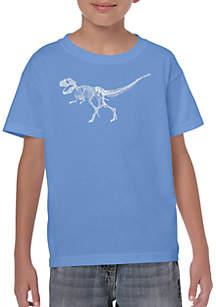 LA Pop Art Boys 8-20 Word Art T Shirt - Dinosaur T Rex Skeleton