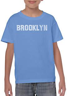 LA Pop Art Boys 8-20 Word Art T Shirt - Brooklyn Neighborhoods