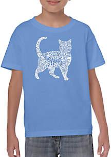 LA Pop Art Boys 8-20 Word Art T Shirt - Cat