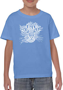 LA Pop Art Boys 8-20 Word Art T Shirt - Cat Face