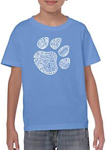 LA Pop Art Boys 8-20 Word Art T Shirt - Cat Paw