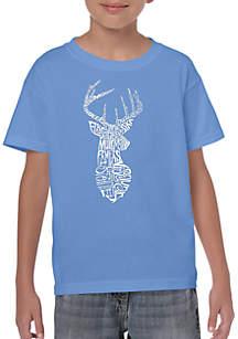 LA Pop Art Boys  8-20 Word Art T shirt - Types of Deer