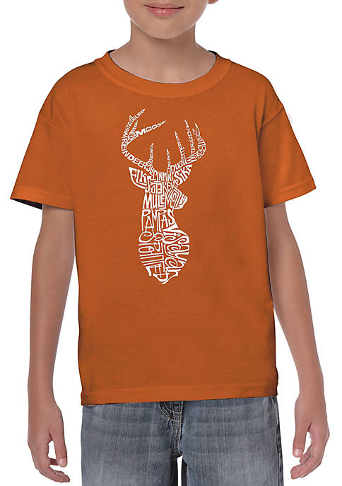 Boys  8-20 Word Art Graphic T-Shirt - Types of Deer