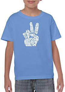 LA Pop Art Boys 8-20 Word Art T Shirt - Peace Fingers