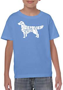 LA Pop Art Boys 8-20 Word Art T Shirt - Golden Retreiver