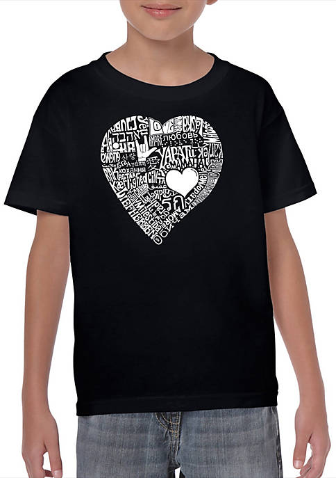 Boys 8-20 Word Art T Shirt - Love in 44 Different Languages
