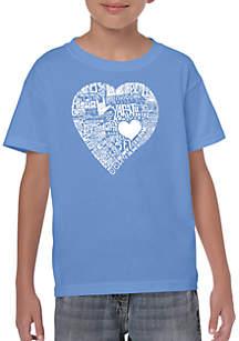 LA Pop Art Boys 8-20 Word Art T Shirt - Love in 44 Different Languages