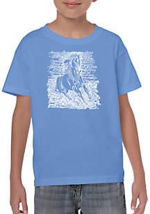 LA Pop Art Boys 8-20 Word Art T-shirt - Popular Horse Breeds