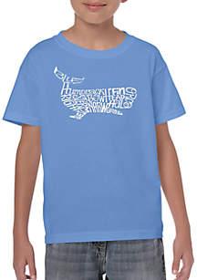 LA Pop Art Boys 8-20 Word Art T Shirt - Humpback Whale
