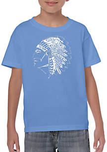 LA Pop Art Boys 8-20 Word Art T-shirt - Popular Native American Tribe Names