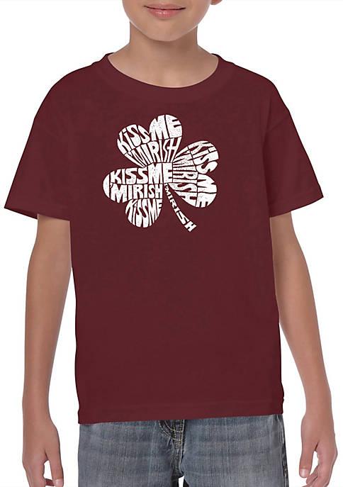 Boys 8-20 Word Art T Shirt - Kiss Me Im Irish