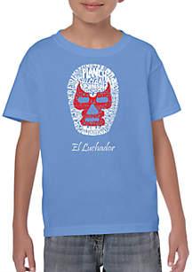 LA Pop Art Boys 8-20 Word Art T Shirt - Mexican Wrestling Mask